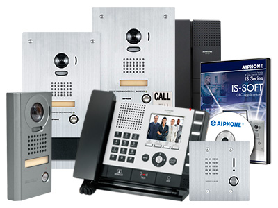 A grouping of IS Series products including an inside master station, a surface mounted vandal resistant video door station, a flush mounted stainless steel video intercom entry station, a 2 call emergency intercom station, a handset class room station, a 2 gang box stainless steel audio only intercom station and DVD for installation of a software based intercom master station.