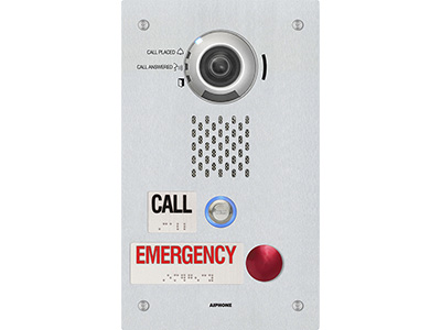 The IX-DVF-2RA is a flush mount, IP addressable video call stations. It has an emergency button and standard call button with a call and emergency placard with raised lettering and Braille signage. The emergency button can be programmed to call up to 20 different stations. The call button can call up to 20 different stations. The station is weather resistant (IP65) and connect to a network using Cat-5e/6 cable. The station is SIP compliant and equipped with a 1.23 megapixel fixed color camera. The camera angle can be vertically adjusted using a lever on the back of the station. The video can be streamed using ONVIF Profile S or RTSP. Audio and video can be captured on a microSD™ card. The station has a 600Ω output that can be used for paging or communication. There are 2 contact outputs that can be programmed to trigger during door release, when the 600Ω output is used, or based on the status of the station. Sound files can be uploaded for custom messages to be played during certain functions. The station has audible and visual indications for calling, communication, and door release.
