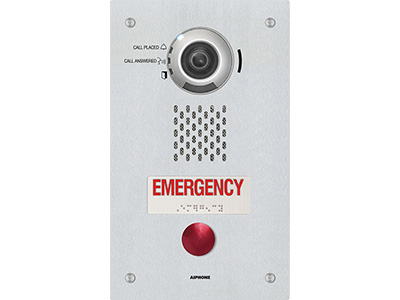 The IX-DVF-RA-FR is a flush mount, IP addressable video call stations. The IX-DVF-RA has a single emergency call button and a French language placard with raised lettering and Braille signage. The emergency button can be programmed to call up to 20 different stations. The call button can call up to 20 different stations. Both stations are weather resistant (IP65) and connect to a network using Cat-5e/6 cable. The station is SIP compliant and equipped with a 1.23 megapixel fixed color camera. The camera angle can be vertically adjusted using a lever on the back of the station. The video can be streamed using ONVIF Profile S or RTSP. Audio and video can be captured on a microSD™ card. The station has a 600Ω output that can be used for paging or communication. There are 2 contact outputs that can be programmed to trigger during door release, when the 600Ω output is used, or based on the status of the station. Sound files can be uploaded for custom messages to be played during certain functions. The station has audible and visual indications for calling, communication, and door release.