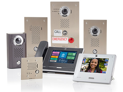 a collection of IX Series 2 products including white and black master with and without handset, audio only IP door station, standard IP video intercom stations and Emergency IP video intercoms.