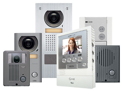 Grouping of affordable video intercom units, a call memory inside unit with color video screen, a standard surface mount video door station, a surface mount vandal resistant door station, a flush mount door station with a ProxPoint card reader, an audio only door station and an audio only inside station.