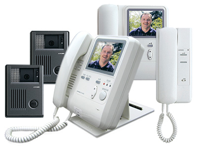 A grouping of KB Series tilt video intercom units featuring a desk mounted inside station with 4 inch TFT video monitor and tilt controls, 2 plastic surface mounted tilt video intercom door stations, a wall mounted inside video master with TFT screen and an audio only interior station.