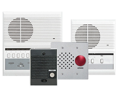 A collection of LEF series audio only intercom units. A face call surface mount master with selective calling and door release, a black plastic, surface mounted door station, a 2 gang stainless steel, vandal resistant intercom with a red mushroom push button and a 3 call flush mounted master are shown.