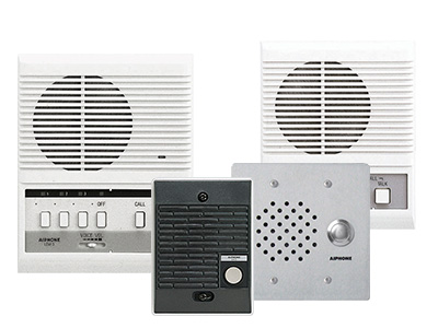 Grouping of LEM Series basic audio only intercom stations, a 3 call wall or desk mounted master, a surface mounted black plastic audio only door intercom, a flush mounted, stainless steel, vandal resistant door station and a single audio only basic intercom master station.